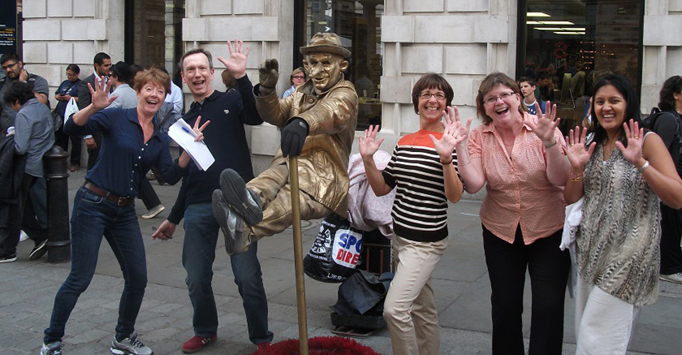 A team with a gold character on a London Treasure Hunt.